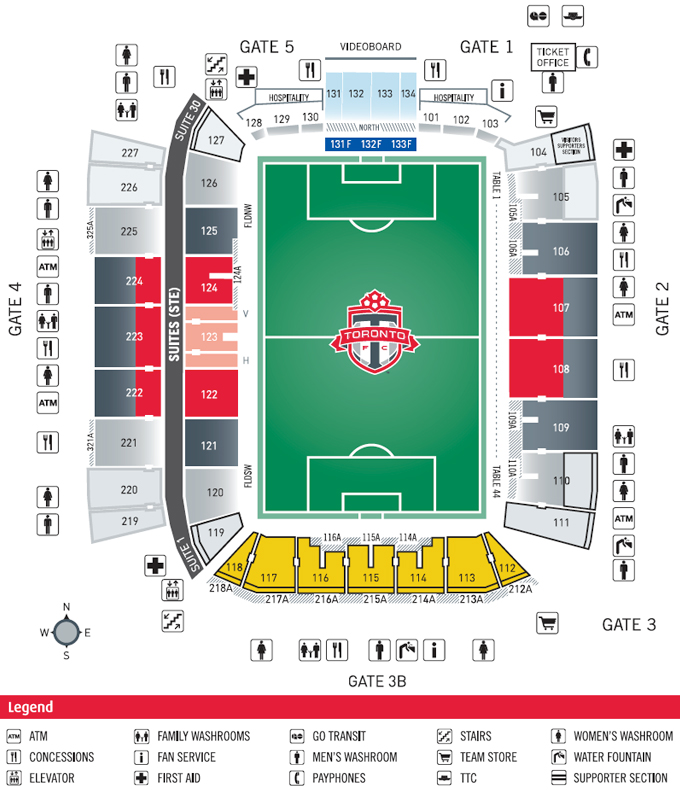 Bmo Field Detailed Seating Chart Sheraton Hotel Downtown